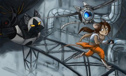 Glados and Chell as... (Request 3) by DymasyaSilver