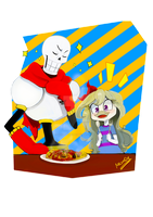 AT: Emmie and Papyrus by NecoroDee1000