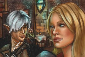 Hawke and Fenris by CinnamonAlchemy