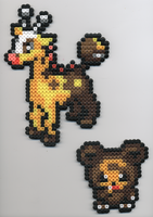 Girafarig and Teddiursa Beads