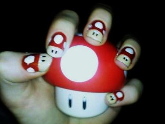 Super Mushroom Nail Art by Chelseapoops