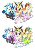 Eeveelutions - All Colors by Norwlin