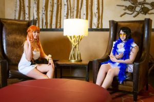 Nami and Nico Robin Film Gold Cosplay by firecloak