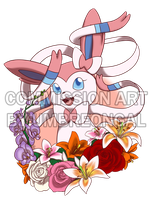 Commission: Sylveon with Flowers by LizDoodlez