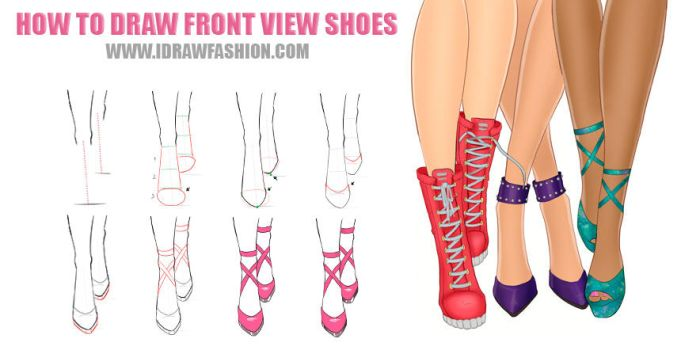 How to draw front view shoes by idrawfashion