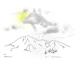 wolf from clouds drawing (animal clouds) by electronicdave