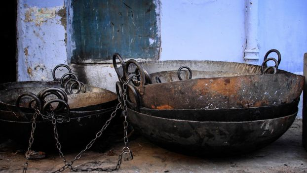 Copper pans. N. India. by jennystokes
