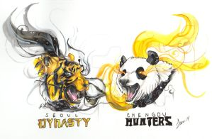 Seoul Dynasty Chengdu Hunters Mascot Drawing by MizyThang