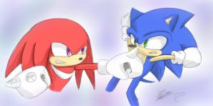 Quick Doodle Of Sonic Vs Knuckles!!!! by sarahlouiseghost