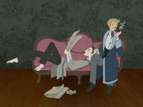 Domesticity- Holmes and Watson by spicysteweddemon