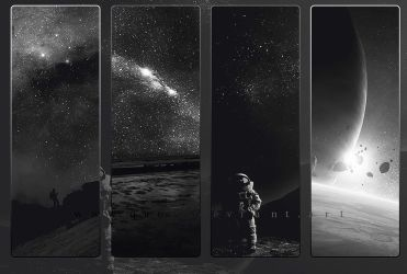 Dark Black And White SciFi Space WP Collection HD by QAuZ
