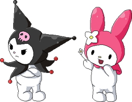 Kuromi and My Melody by BulletMistress