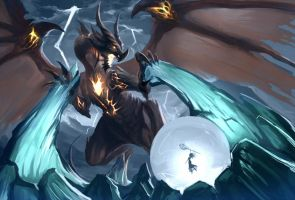 Dragon Vs Frost Giant by just1ce1