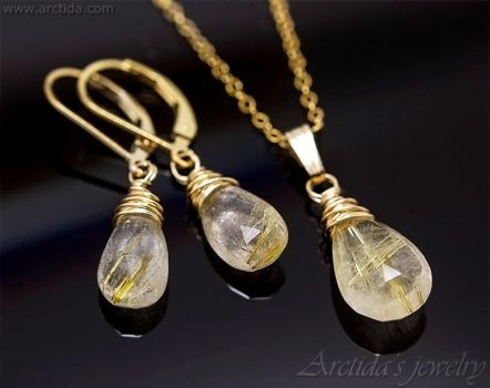 Golden Rutile Quartz necklace and earrings set by Arctida