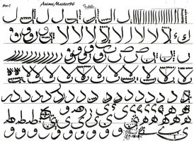 Thuluth Script - Arabic Calligraphy - Letters by anime-master-96