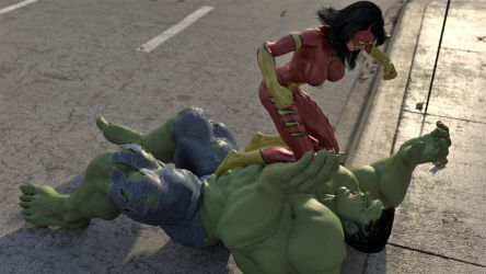 Spiderwoman vs Hulk 42: UHD Wallpaper by DahriAlGhul