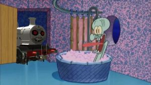 Timothy the Ghost Train drops by Squidward's House by Wildcat1999