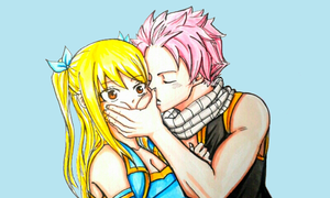fairy tail : Nalu kiss cheek by BakaAden