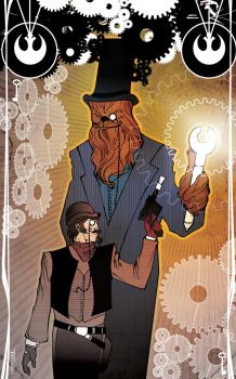Steampunk Han and Chewie by TomKellyART
