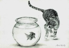 Cat and fish by ArtiaWolf