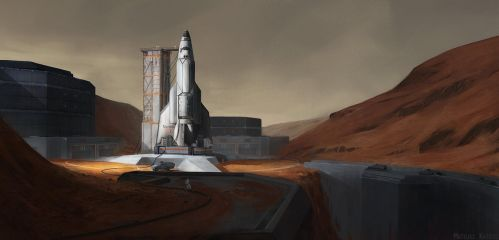 Mars launch base by Narholt