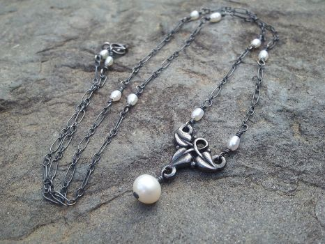 Elven Ivy Oxidized Silver Pearl Necklace by QuintessentialArts