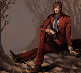 Dude in a suit.. in dirt.. with trees by xamxam