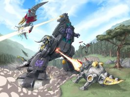 Trypticon Vs Dinobots by EspenG