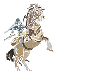 Link and Epona - Breath of the Wild - Fond Blanc by LinkyBrutus