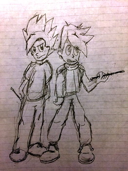 Sketch of 2 Unnamed characters by Joshtrip1