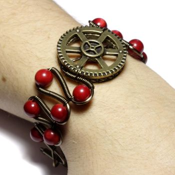 Steampunk Jewelry Red Coral by CatherinetteRings