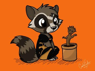 Rocket Raccoon and Baby Groot by songthedemonpuppy