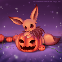 Eevee's Pumpkin Field by sunshineikimaru