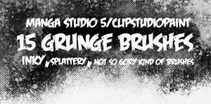 Manga Studio 5 Grunge Brushes by N3KRoM3KHANIKaL