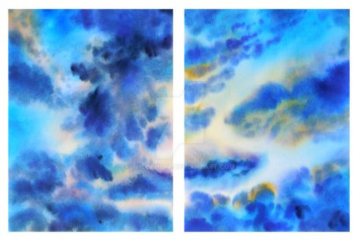 Watercolor Clouds Diptych by Theophilia