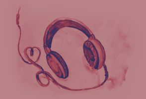 Watercolor of headphones. Music love by oanaunciuleanu