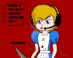 Pewdiepie dressed as Alice by Grimmynette