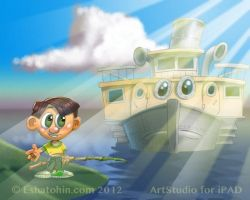 Boy and Steamship by shatos