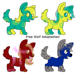 Free Wolf Adoptables 0/4 left CLOSED by KookiesAndKreeperz