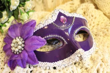Purple Masquerade Mask with Flower Embellishments by VictorianChics