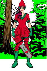 Elf Girl With Chainsaw 7 by Usaporkchops