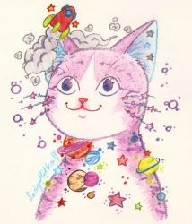 Space Cat by LadyMilka