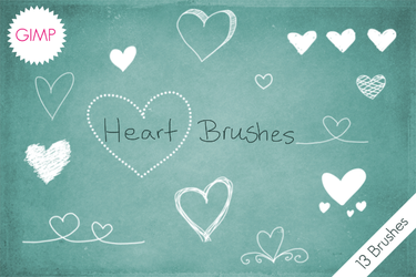 Heart Brushes GIMP by byjanam