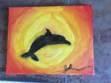 Dolphin in sunrise painting by TheRunningRunner