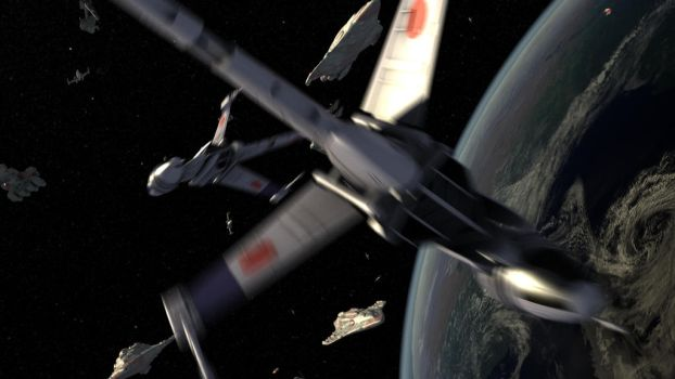B-wing Deploy Over Earth by Affet-kak