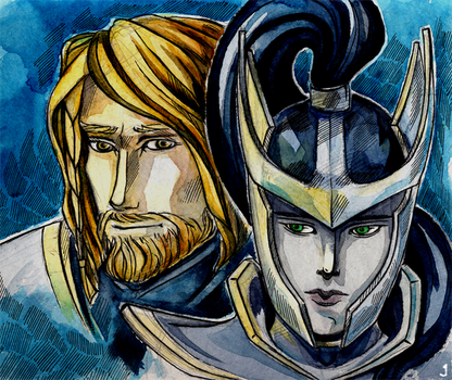 Art Trade - DOTA2 - Onmiknight and Phantom Assasin by Al-Jai