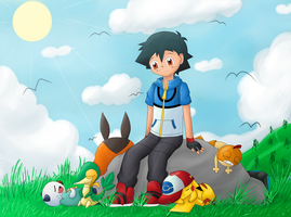 Satoshi (Ash) and Company - Peaceful Afternoon by binarypeaches