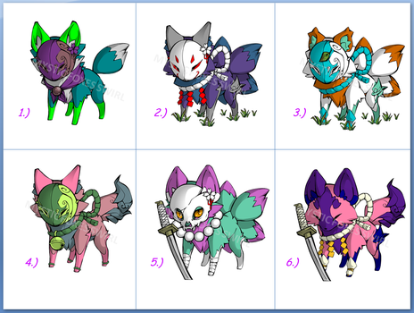 Mystic Fox Adoptables [OPEN] by MysticFoxesSwirl