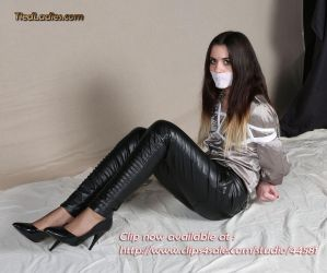Talulla : Hogtied in Leather Pants. by PhMBond