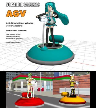 MMD Accessory - AGV Hover Scooters by Trackdancer